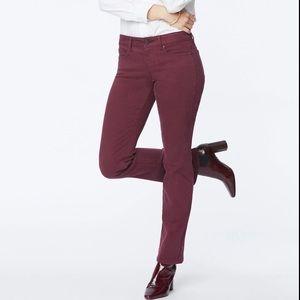 NYDJ Maroon Marilyn Straight Leg Stretch Jeans Pants